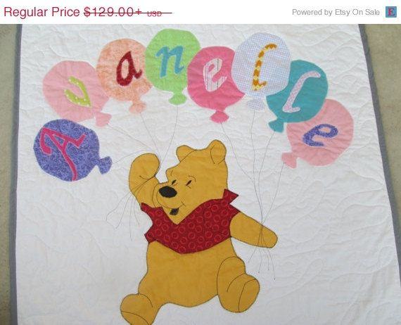Baby Quilt Personalized Name Quilt Winnie the Pooh Girl Boy Any ...