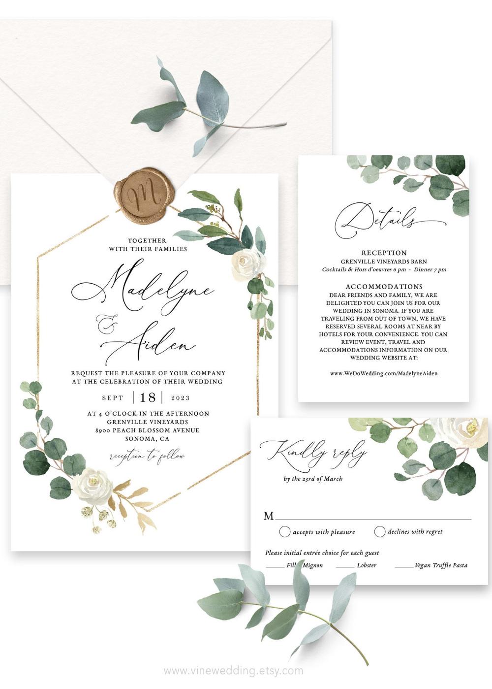 Wedding Invitation Set, Printable Wedding Invitation Template