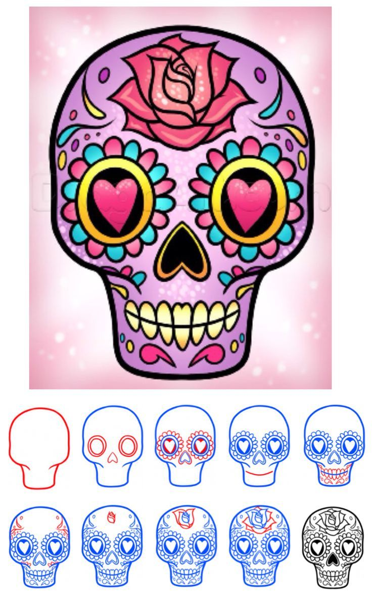 How To Draw A Sugar Skull Easy Via Dragoart Com How To Draw