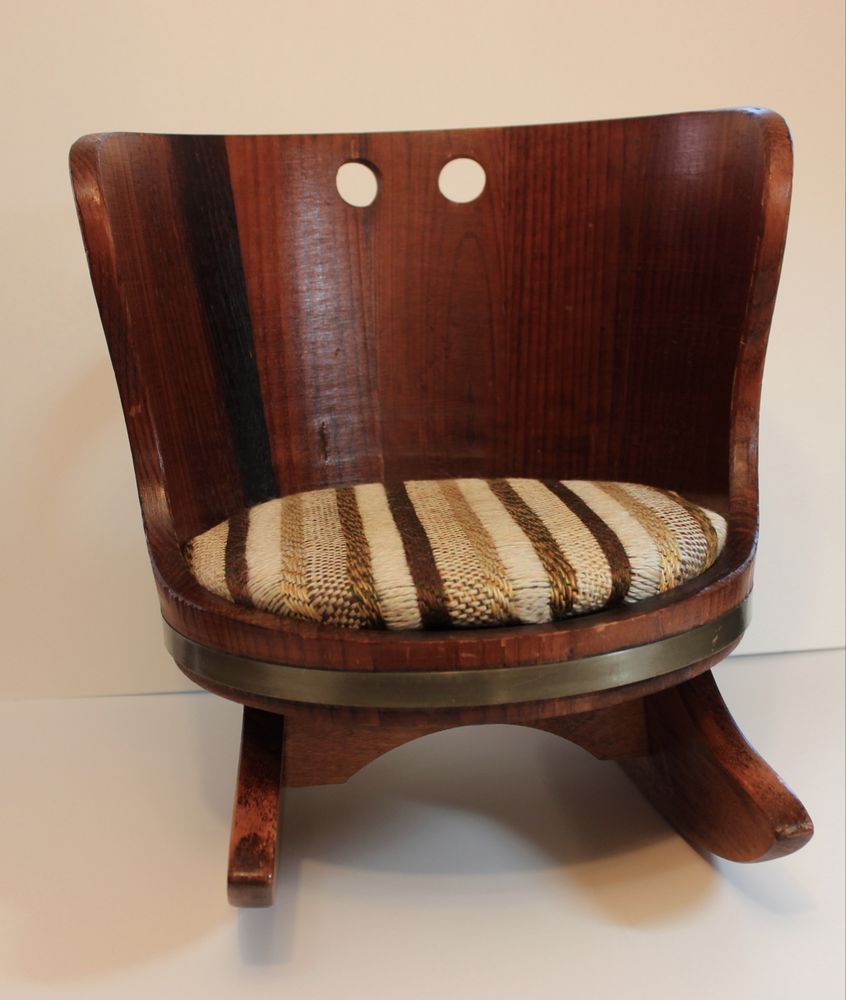 Vintage Childs Wood Barrel Rocking Chair Putney Vermont Basketville Striped  Seat