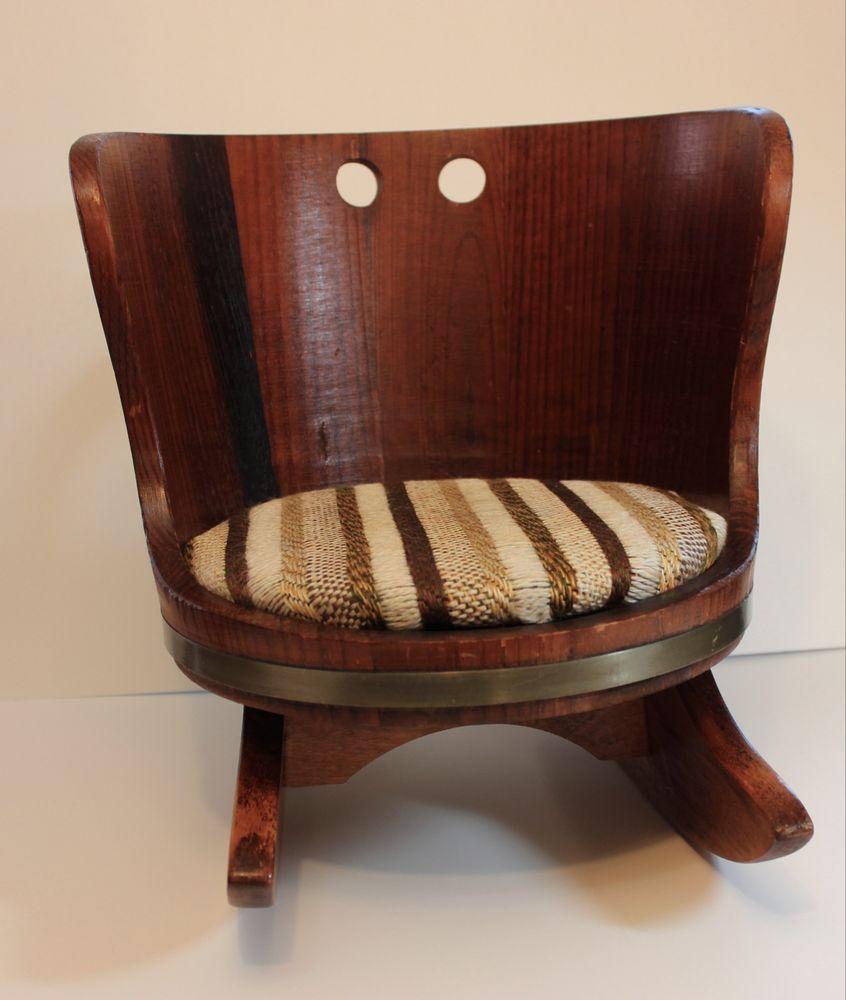 Vintage Childs Wood Barrel Rocking Chair Putney Vermont Basketville Striped  Seat - Vintage Childs Wood Barrel Rocking Chair Putney Vermont Basketville