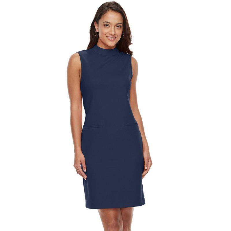 Women's Sharagano Sleeveless Crepe Sheath Dress, Blue (Navy)