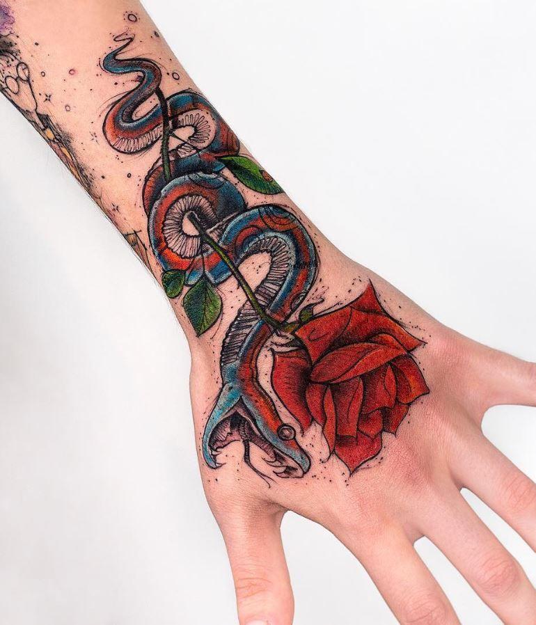 Snake Rose Tattoo Inkstylemag Tattoos Body Art Tattoos Hand Tattoos