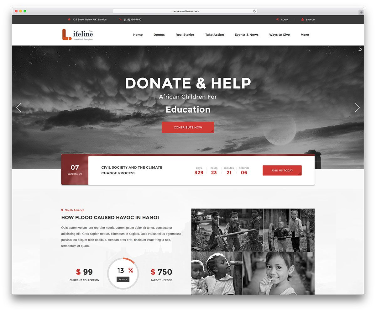 lifeline2 charity wordpress website template