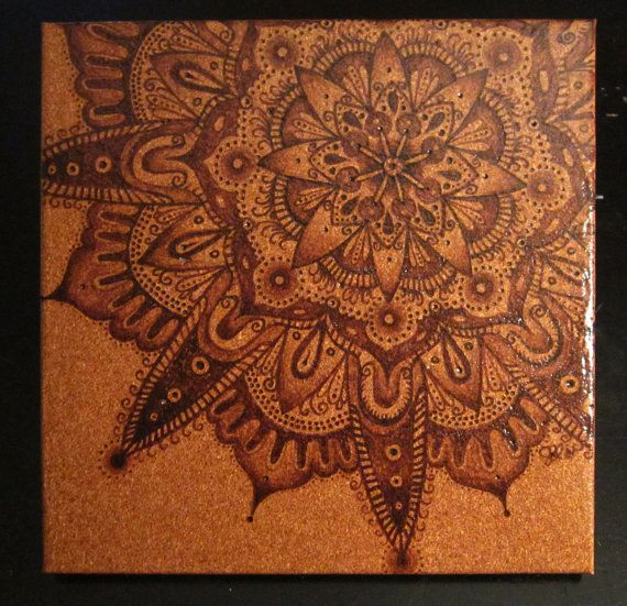 ORIGINAL ARTWORK: Pyrography on Cork Henna Mandala by tuffjulz