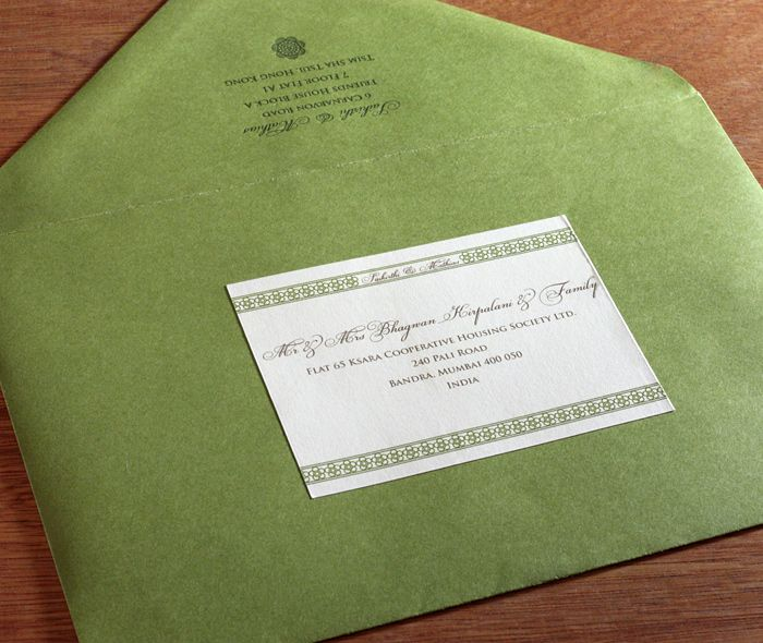 Formal Return Addressed Envelope With Custom Label With Green Indian