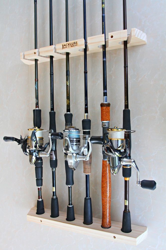 Handmade fishing rod racks wall type of 6 vertical for Wall fishing rod holder