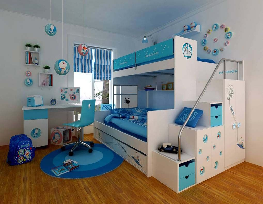 Small Space Bedroom Design Furniture Blue Colour With Double Beds