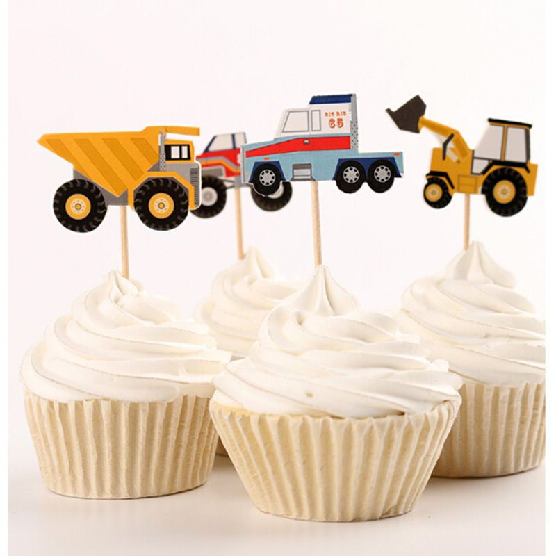 24pcs Car model cake toppers cupcake picks birthday party ...