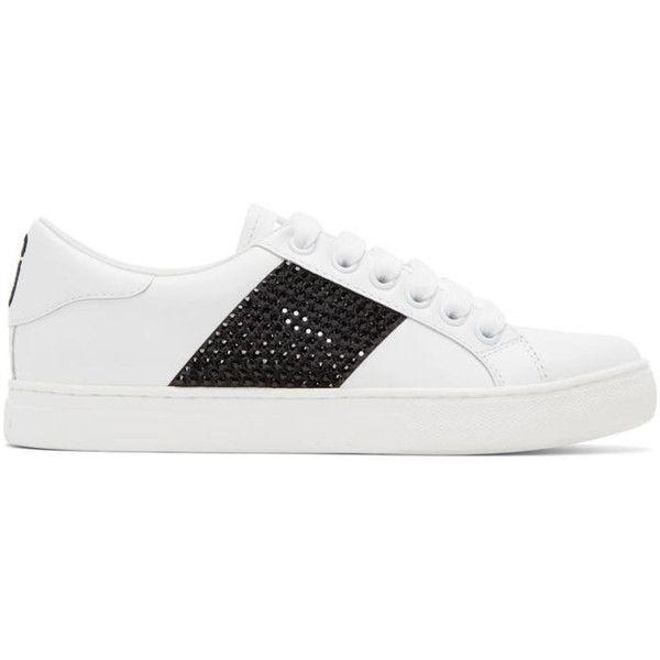 Gucci White & Black Empire Strass Sneakers kbuts1eRxC