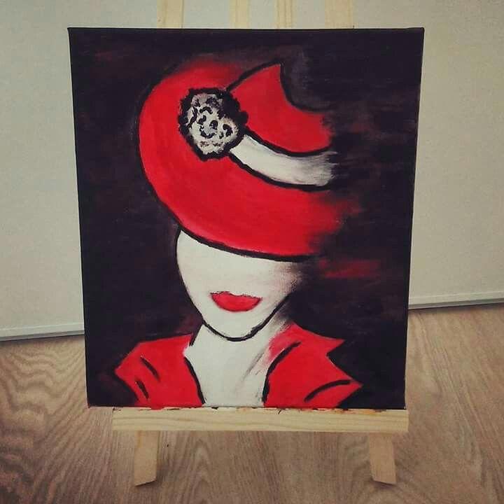 Femme au chapeau peinture acrylique sur toile
