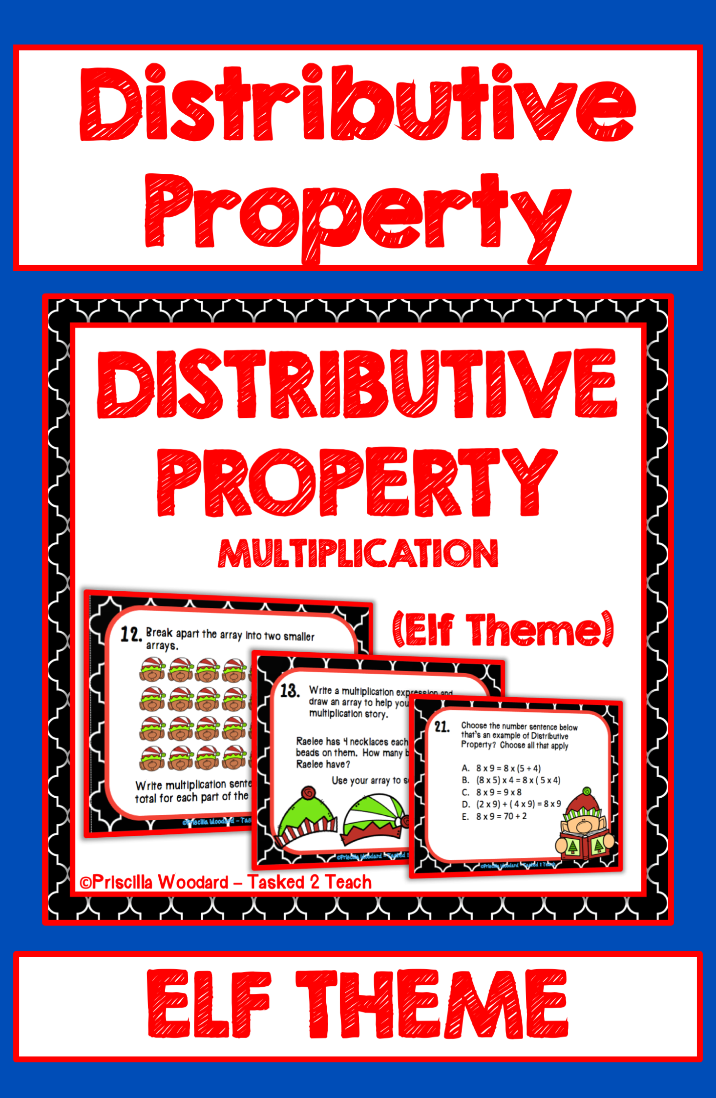Distributive Property Of Multiplication Task Cards Elf