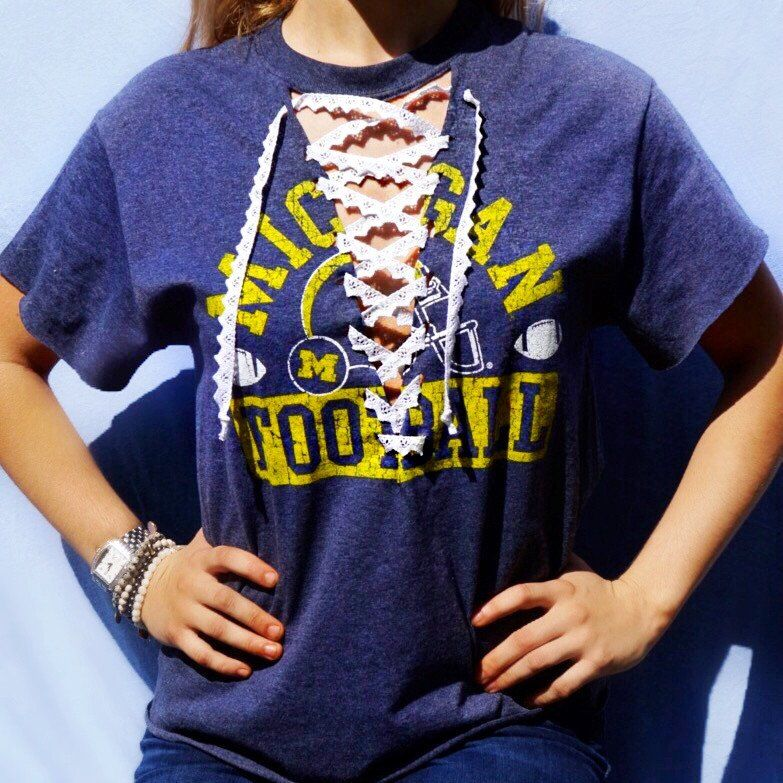College Lace Up Tee Hockey Style In 2019 Diy Lace Up Shirt