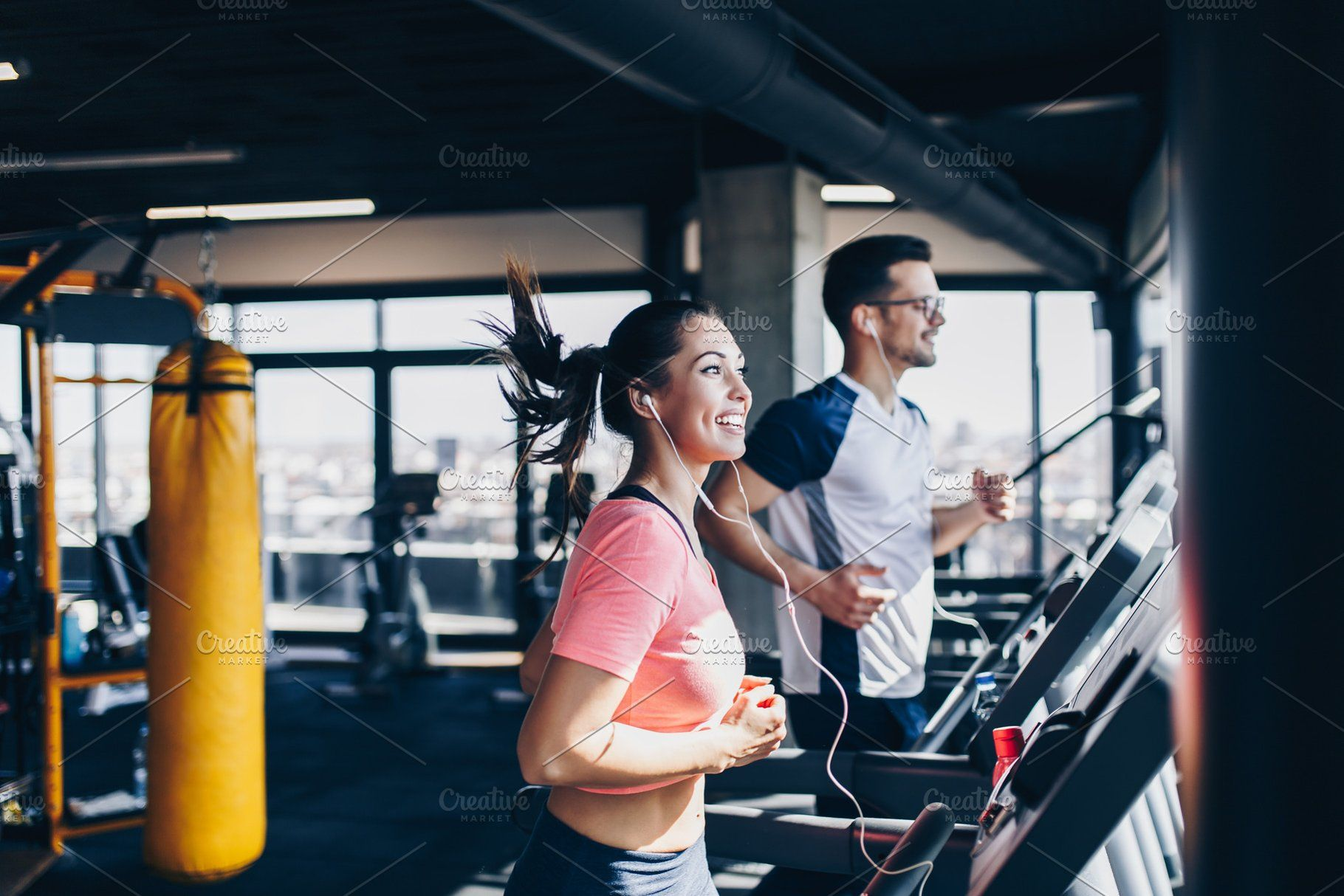 Ad People In Fitness Gym By Red Dot Studio On Creativemarket Young Fit Man And Woman Running On Treadmill In Mode Gym Workouts Back To The Gym Sports Photos