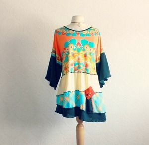 Women's, Plus size, bohemian, orange turquoise blue and black, women's, wearable art, tunic top in size 2X.
