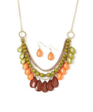 Love this Gold & Green Triple Strand Bib Necklace & Earrings by Ethel & Myrtle on #zulily! #zulilyfinds