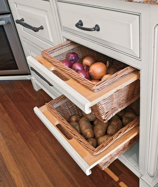 4 Ways To Personalize Your Kitchen Cabinets: Keep Vegetables Out Of The Way With Convenient Basket