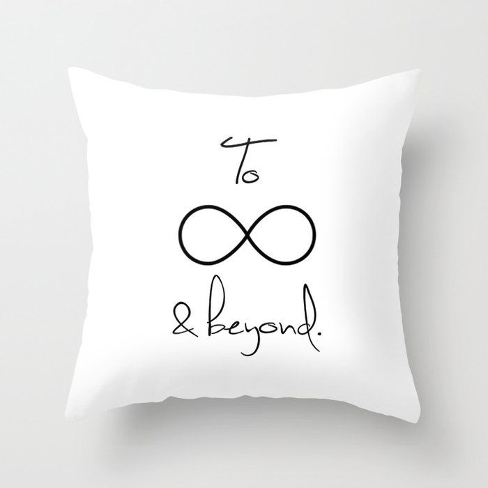 """To Infinity And Beyond White Couch Throw Pillow by Directgifts - Cover (16"""" x 16"""") with pillow insert - Indoor Pillow"""