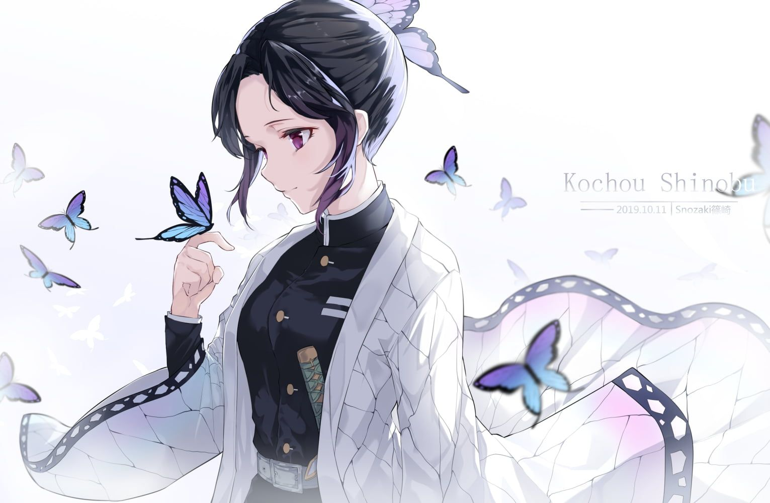 Kimetsu No Yaiba Kochou Shinobu Butterfly Weapon Katana Black Hair Uniform Japanese Clothes Short Hair Sword 720p Wallpaper H In 2020 Anime Katana Hd Wallpaper