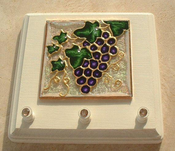 Wine Themed Kitchen Paint Ideas: Handmade Purple Vineyard Wine Grapes Key Holder Rack