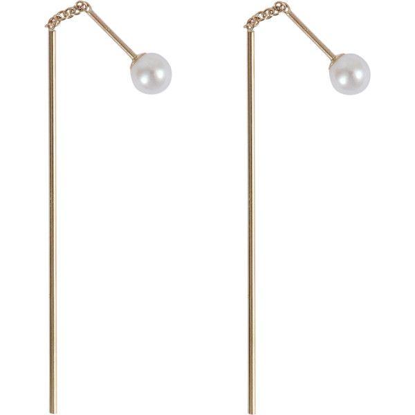 Bar thread thru pearl earrings Mizuki 9L0ASj