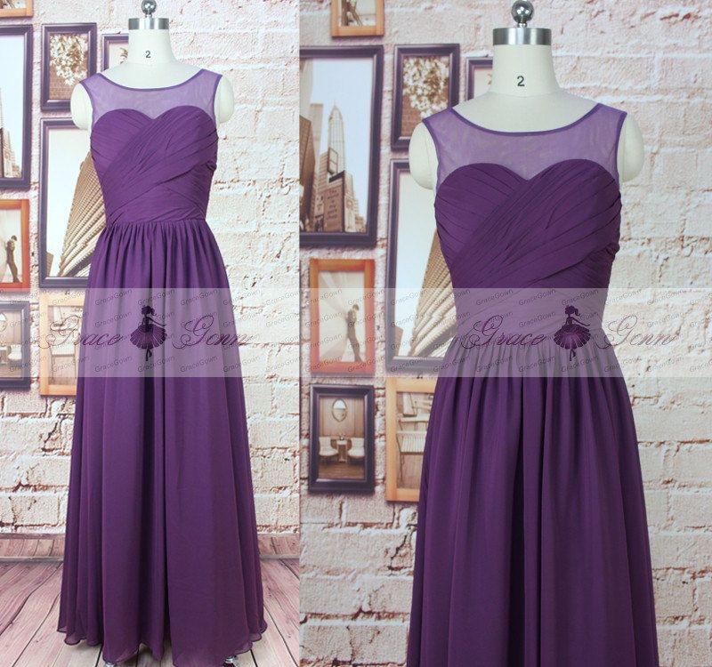 Dama de honor vestido de púrpura gasa Dama de honor por GraceGown