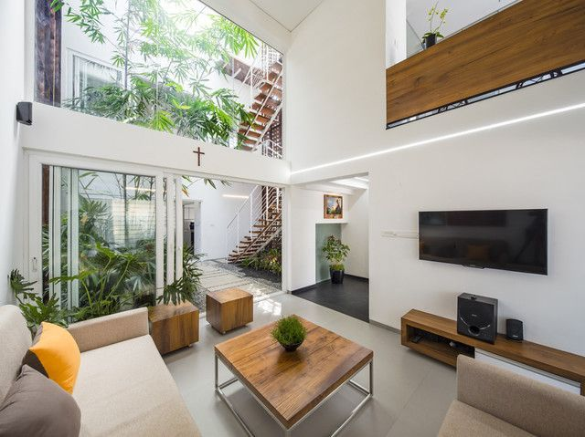 The Breathing Wall Residence By Lijo Reny Architects In 2020 Minimal Interior Design Minimalist Living Room Design Minimalism Interior