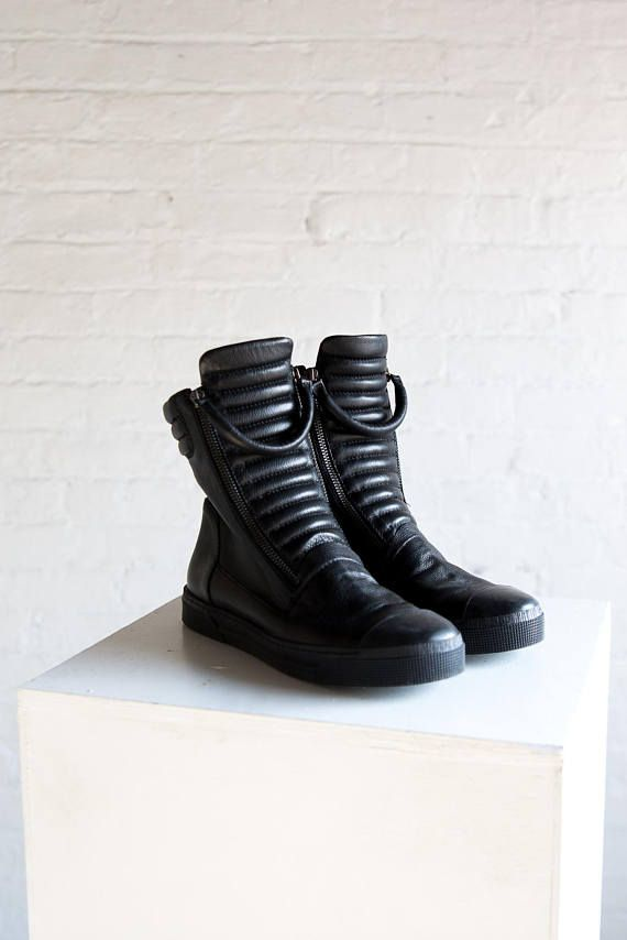Leather Sneaker Boots Platform Boots