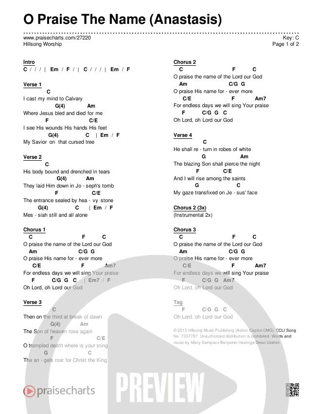 o praise the name chords pdf c