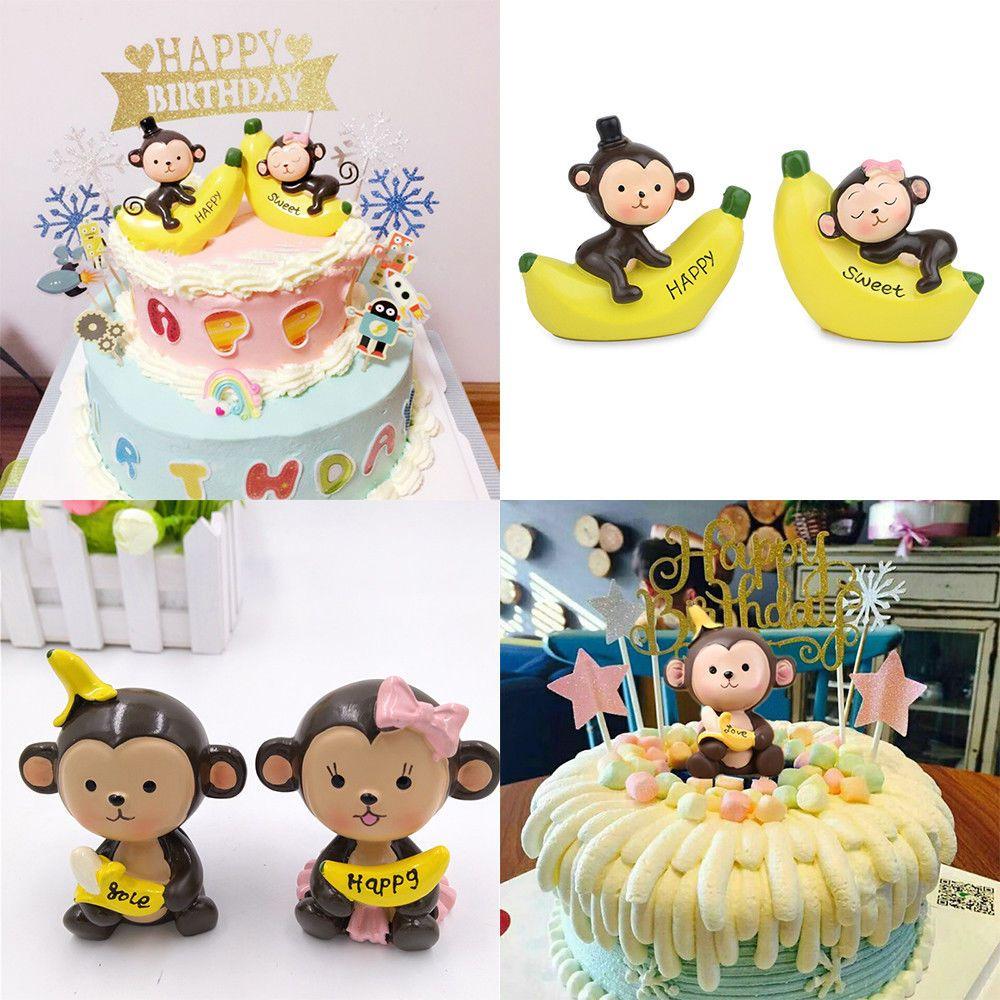 1 Pair Home Decoration Boys&Girls Monkey Cake Toppers Birthday Cake ...
