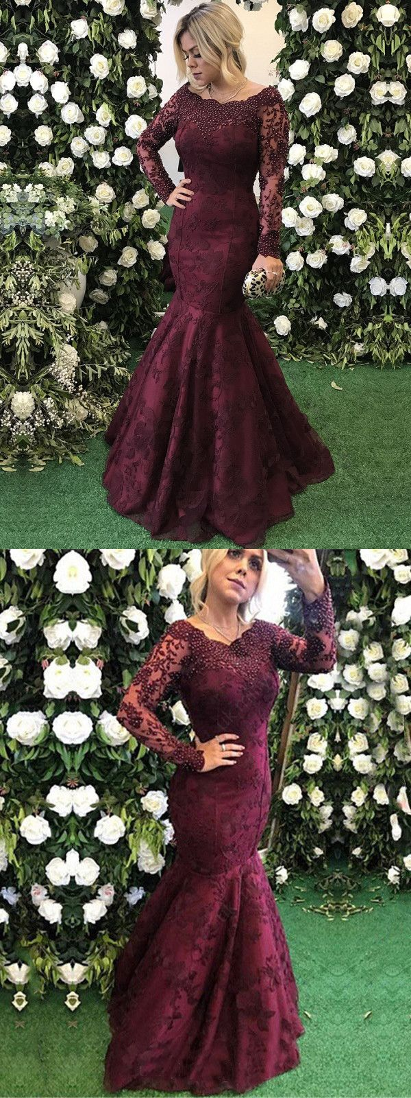 Mermaid burgundy prom dress modest cheap lace long prom dress