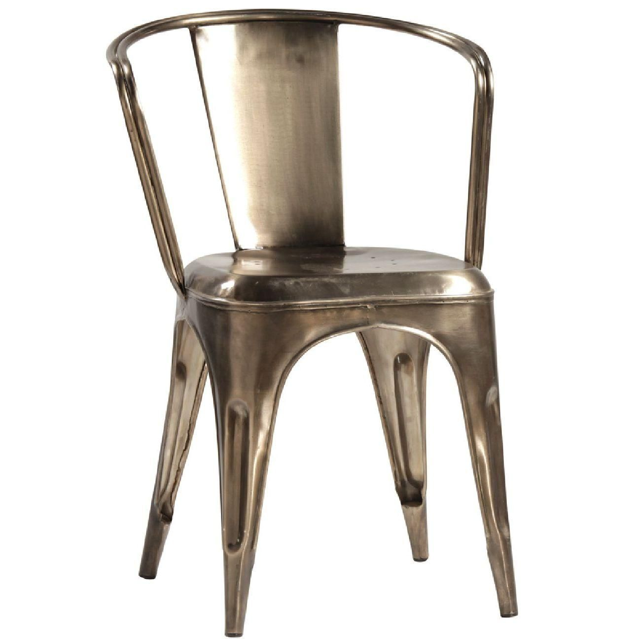 Yellow frame vintage sheet metal french cafe and bistro armless chairs - Dovetail Harden Chair French Cafefrench Bistrometal
