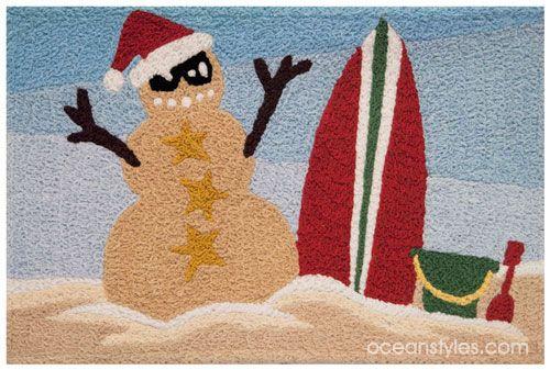 Sandy Snowman Accent Rug Christmas At The Beach