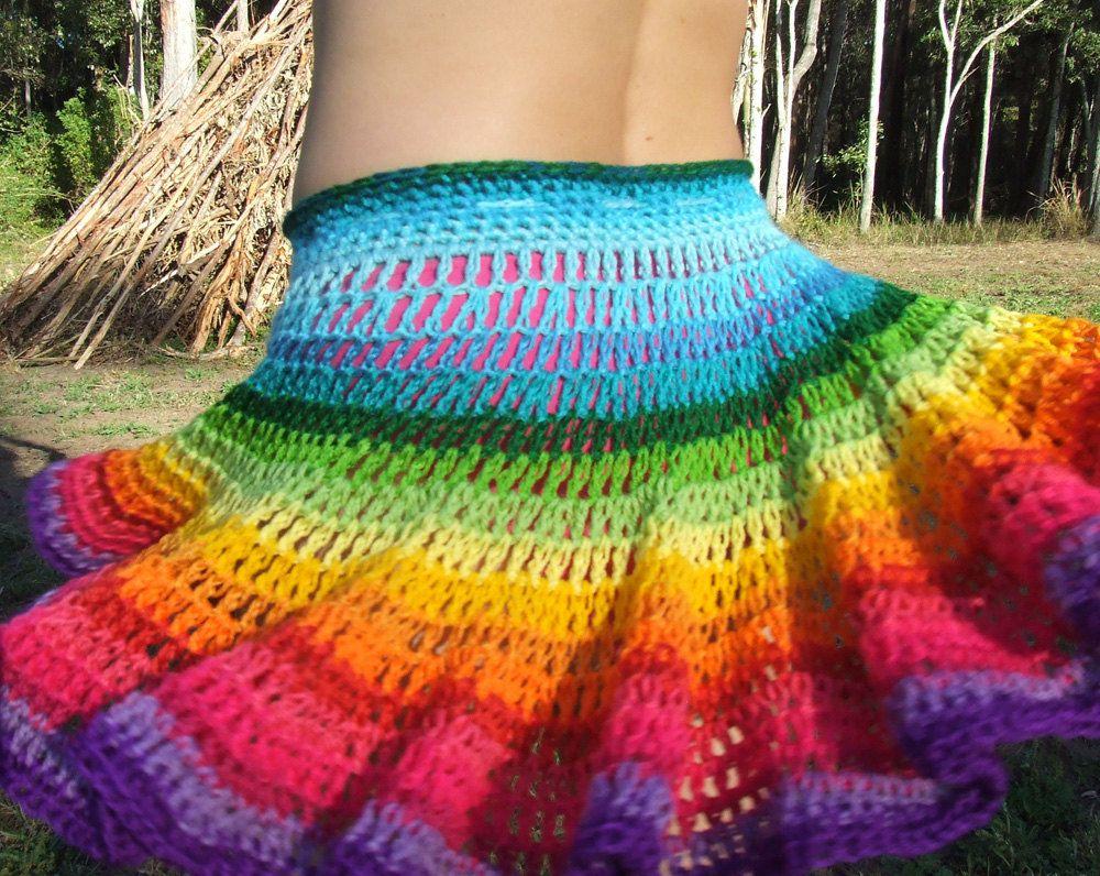 Rainbow crocheted full circle draw string skirt | Regenbögen
