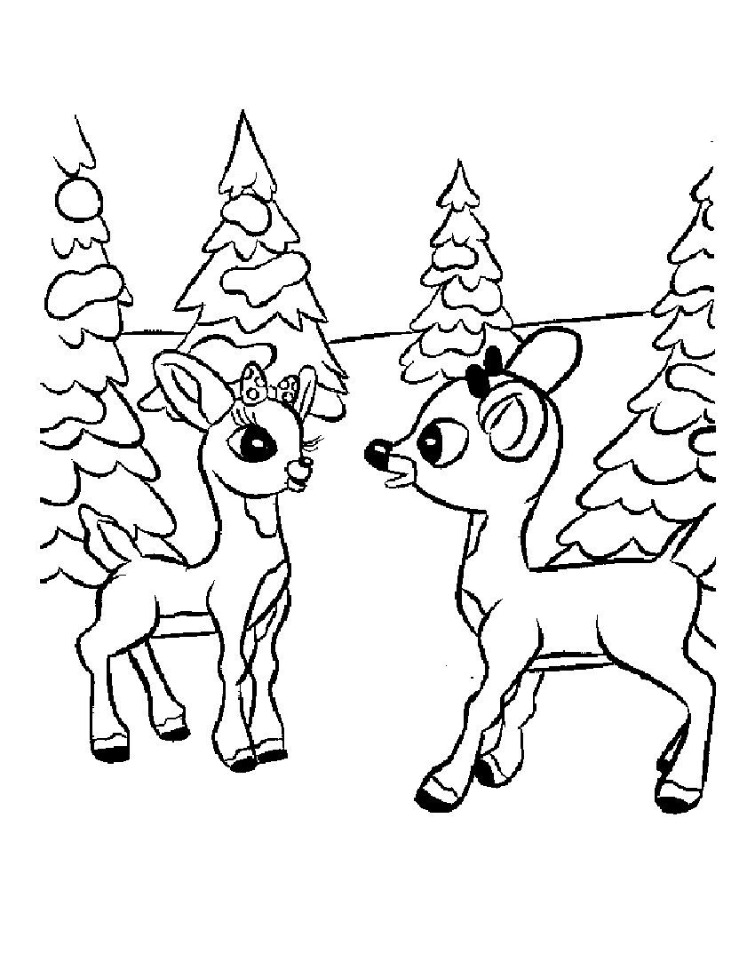 Rudolph And Clarice Coloring Page Rudolph Coloring Pages Deer Coloring Pages Thanksgiving Coloring Pages