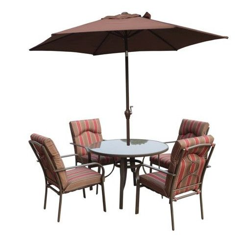 Immanuel 4 Seater Dining Set With Cushions And Parasol Dining Set Table Leaf Storage Metal Outdoor Table