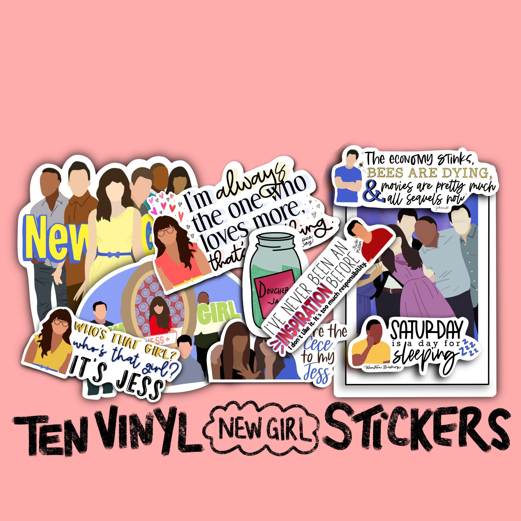 New Girl Vinyl Sticker Pack 10 Piece Etsy In 2020 Vinyl Sticker Vinyl Print Stickers