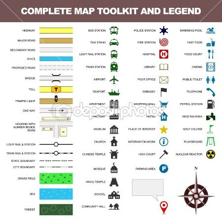 Map Icon Legend Symbol Sign Toolkit Element Map Icons Legend