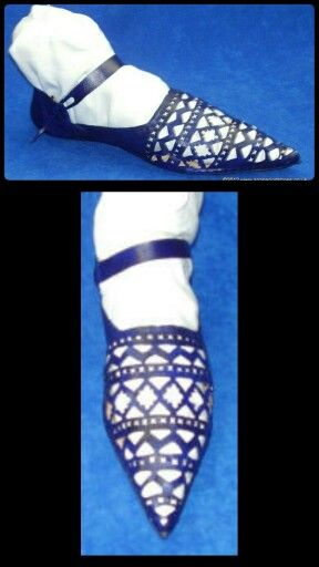 Shoe with extensive geometric openwork late 14th + 15th century Reproduction
