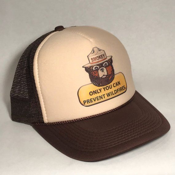80ab7089aec3b2 Smokey the Bear Trucker Hat Only You Can Prevent Forest Fires US Forest  Service National Park Cap