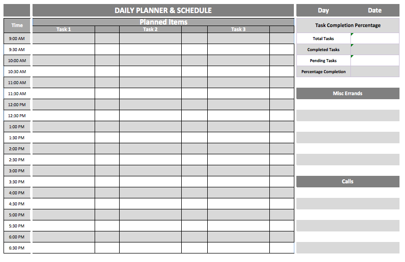 Daily Schedule Template  Business Templates