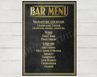 Great Gatsby Menu  Etsy Great Bar Menu Template For Gatsby Party