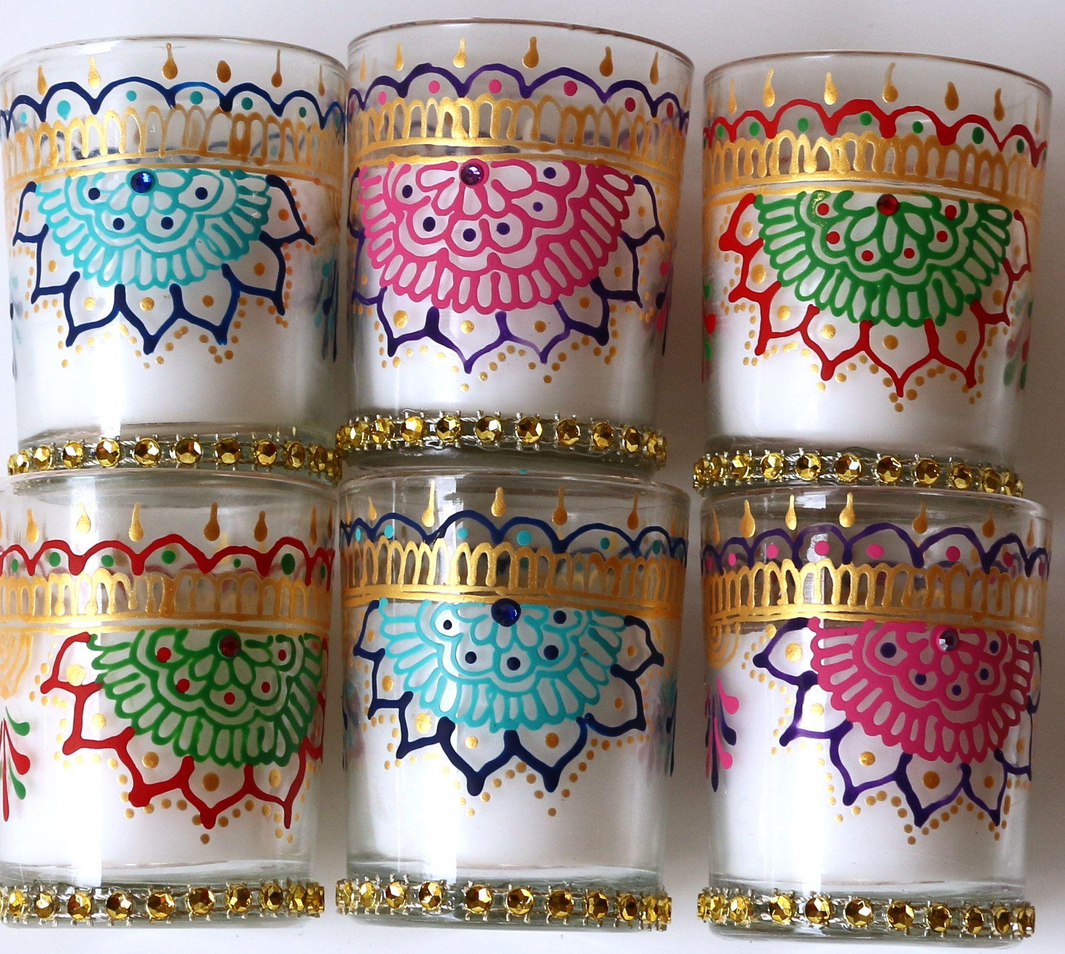 Set of 4 unscented Glass Votives , Indian Wedding Wedding