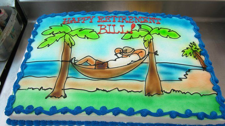 Retirement Cake Time foe a Hammock by the Beach Cake by Stephanie