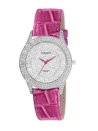 Pink with diamonds and below $100, it's a perfect watch from Akribos XXIV on Gilt