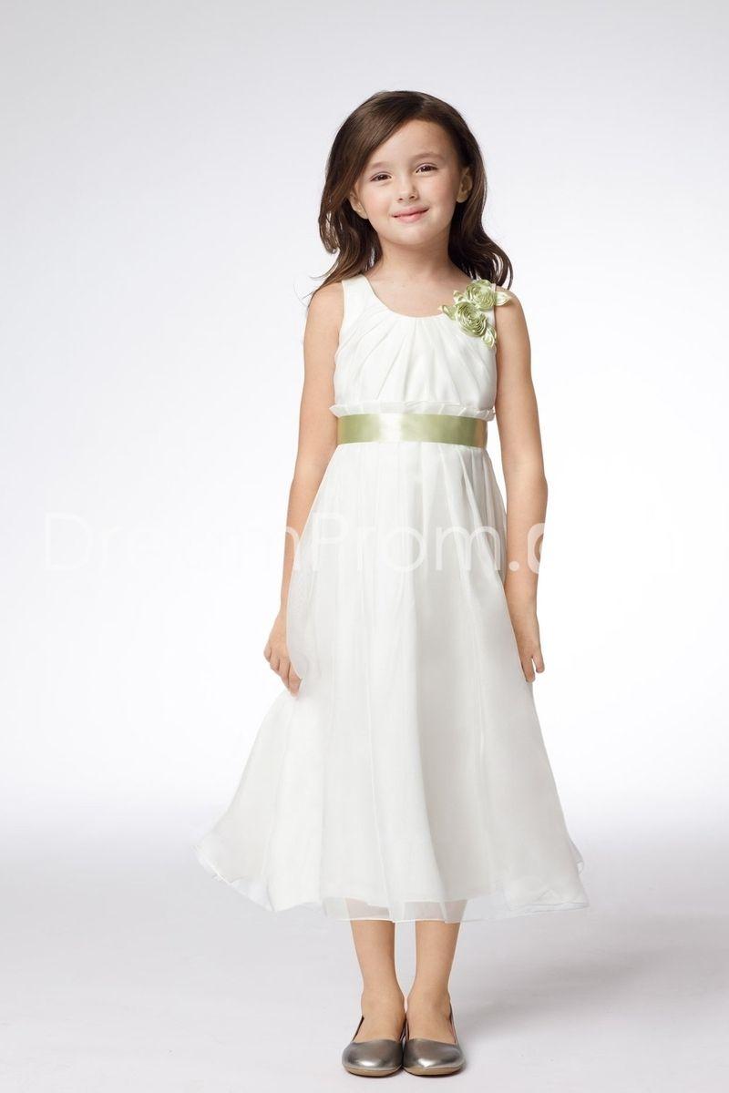 Cute aline scoop tealength flower u sash flower girl dress