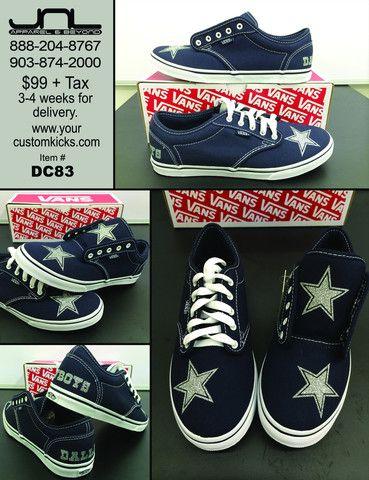 9b900ae3e9f Custom Women s Dallas Cowboys VANS Navy Blue White Shoes – JNL Apparel