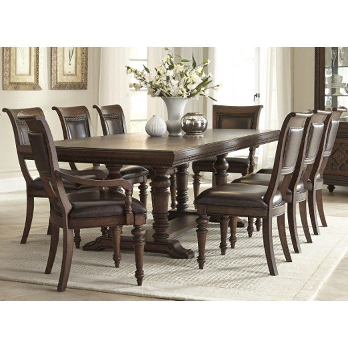 Prescott Dining Trestle Table 4 Side Chairs 799108 Dining