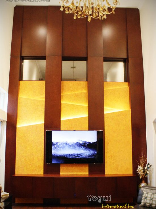 Magnificent Contemporary Wall Mounted Tv Unit With Brown And Yellow ...