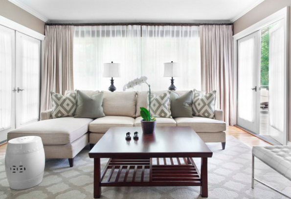 Wonderful Source: Mark Williams Design Gorgeous Monochromatic Living Room Design With  Gray Walls Paint Color, Ivory Mitchell Gold + Bob Williams Charlotte Sofa  With ...